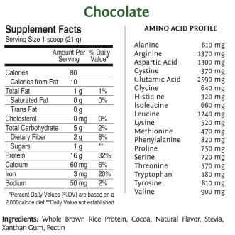 Raw Vegan Rice Protein by SunWarrior Nutritional Information – Chocolate