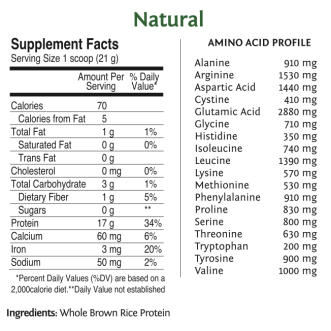 Raw Vegan Rice Protein by SunWarrior Nutritional Information - Natural