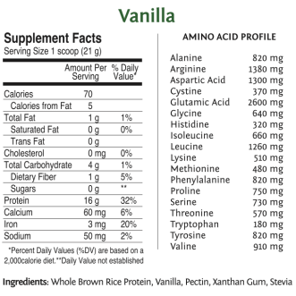 Raw Vegan Rice Protein by SunWarrior Nutritional Information – Vanilla