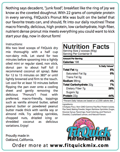 Pronut protein donut mix nutrition facts