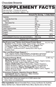 Chocolate brownie supplement facts