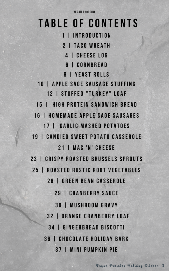 Vegan Holiday Recipe Book Table of Contents